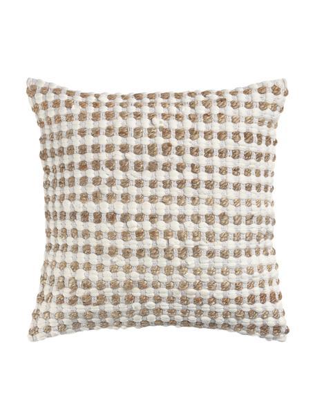 Kissenhülle Fiesta mit Jute-Details, 55% Baumwolle, 45% Jute, Weiß, Beige, 60 x 60 cm