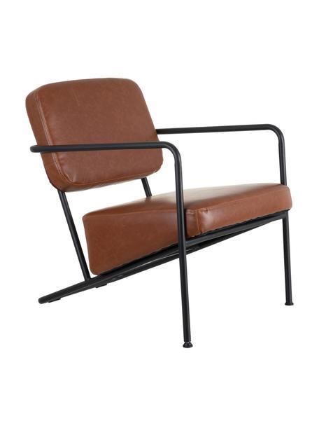 Fotel wypoczynkowy ze sztucznej skóry z metalową ramą Arms, Tapicerka: sztuczna skóra, Stelaż: drewno warstwowe, Camel, S 57 x G 76 cm