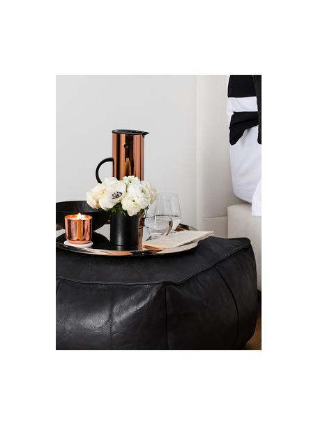 Leren poef Porthos, Bekleding: 100% anilineleer, Zwart, 80 x 33 cm
