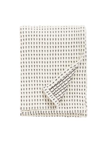 Strofinaccio in cotone Stirly 2 pz, 100% cotone, Bianco latteo, nero, Larg. 50 x Lung. 70 cm