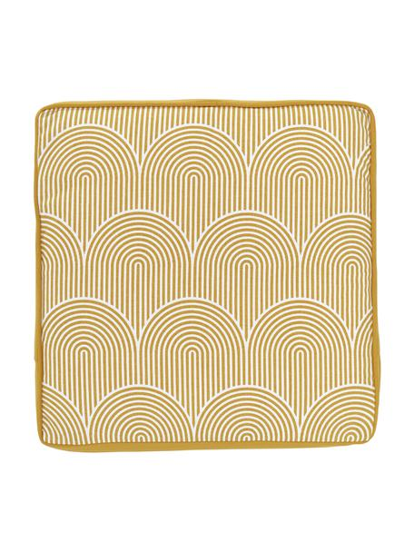 Cuscino sedia alto giallo/bianco Arc, Rivestimento: 100% cotone, Giallo, Larg. 40 x Lung. 40 cm