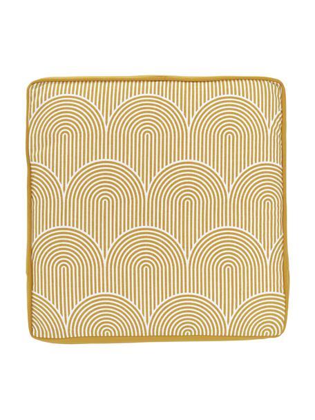 Hohes Sitzkissen Arc in Gelb/Weiß, Bezug: 100% Baumwolle, Gelb, 40 x 40 cm