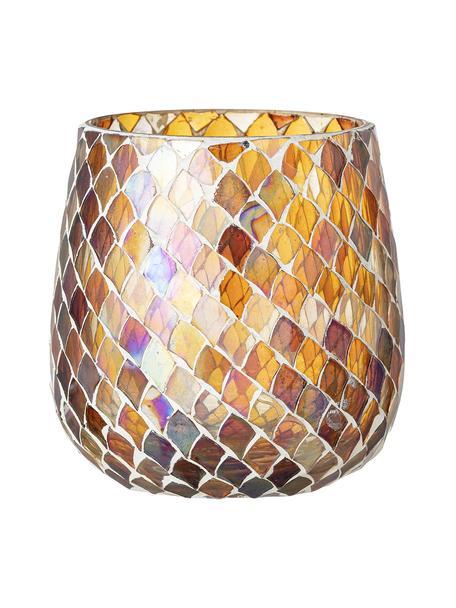 Teelichthalter Kama, Glas, Bernsteinfarben, transparent, Ø 12 x H 12 cm