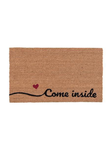 Deurmat Come Inside, Bovenzijde: kokosvezels, Onderzijde: PVC, Bruin, zwart, rood, 45 x 75 cm