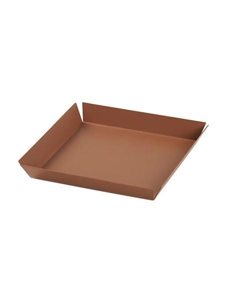 Deko-Tablett Erika in Kamelbraun, L 14 cm, B 14 cm, Metall, beschichtet, Kamelbraun, 14 x 14 cm