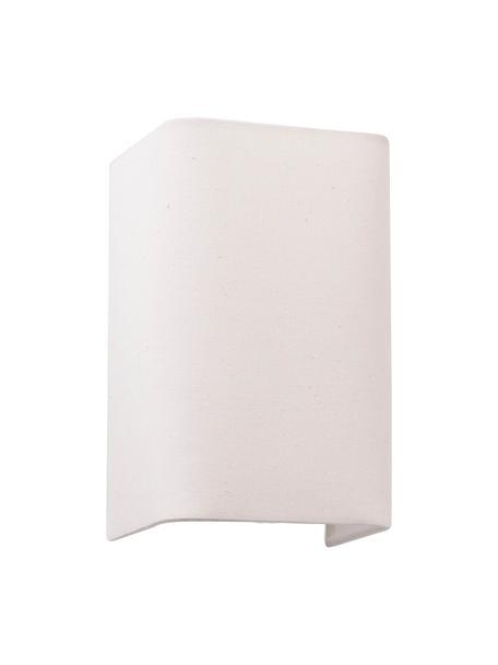 Applique con paralume in tessuto Cotto, Paralume: cotone, Struttura: metallo, Beige chiaro, Larg. 13 x Alt. 20 cm