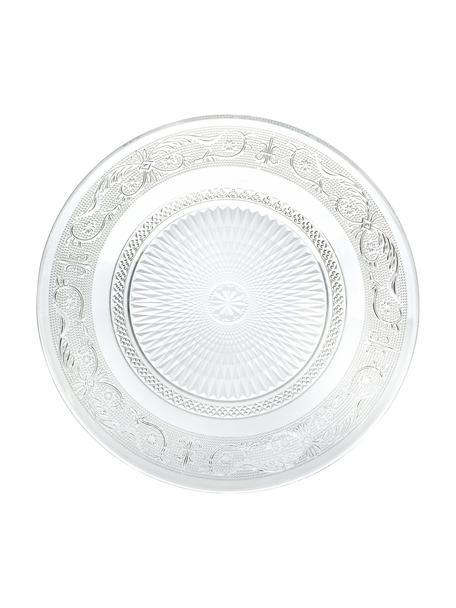 Platos llanos de vidrio con relieves Imperial, 6uds., Vidrio, Transparente, Ø 25 cm