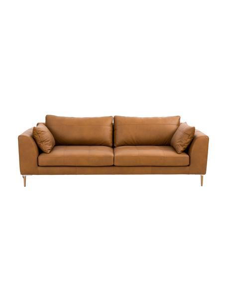 Sofa skórzana z drewnianymi nogami Canyon (3-osobowa), Tapicerka: skóra częściowo anilinowa, Nogi: drewno bukowe, metal, Koniakowy, S 225 x G 100 cm