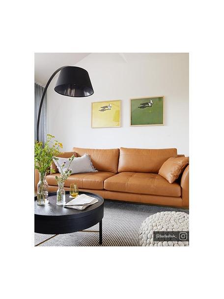 Leder Big Sofa Canyon (3-Sitzer) in Cognacfarben mit Holz-Füssen, Bezug: Semianilinleder, Leder Cognac, B 225 x T 100 cm