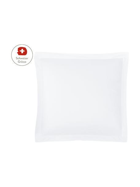 Baumwollsatin-Kissenbezug Premium in Weiss mit Stehsaum, 65 x 65 cm, Webart: Satin, leicht glänzend Fa, Weiss, 65 x 65 cm
