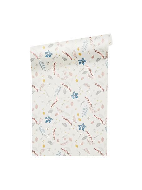 Tapete Pressed Leaves, Papier, Creme, Rosa, Blau, Grau, Gelb, 53 x 1005 cm