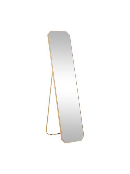 Rechthoekige staande spiegel Bavado met een messingkleurig aluminium frame, Frame: aluminium, vermessingd, Messingkleurig, 41 x 175 cm