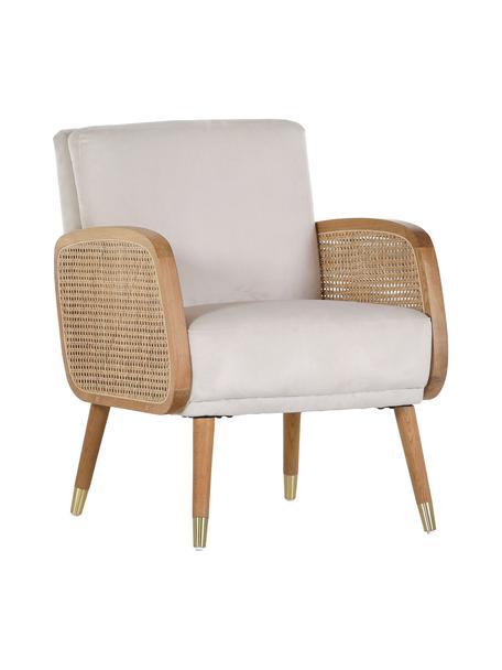 Loungefauteuil Hakoon met Weens vlechtwerk in beige, Bekleding: 100% polyester, Poten: hout, Beige, gebroken wit, B 64 x D 75 cm