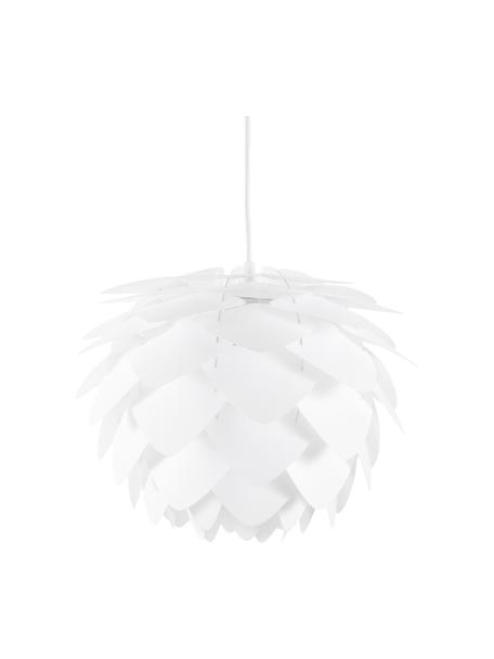 Lámpara de techo Silvia, kit de montaje, Pantalla: polipropileno, Anclaje: plástico, Cable: cubierto en tela, Blanco, Ø 32 x Al 25 cm