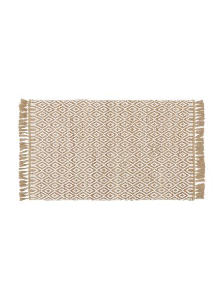 Ręcznie wykonana wycieraczka z juty Ramos, 100% juta, Beżowy, biały, S 50 x D 80 cm