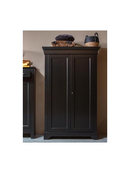 Szafa z drewna sosnowego Isabel, Korpus: drewno sosnowe, lakierowa, Czarny, S 118 x W 191 cm