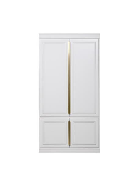 Witte kledingkast Organize, Frame: grenenhout, gelakt, Handvatten: gecoat metaal, Wit, 110 x 215 cm