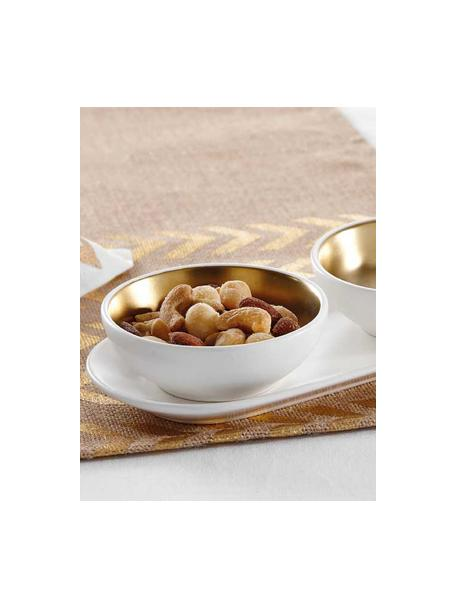 Set ciotole per aperitivo in gres Glitz 3 pz, Terracotta, Bianco, dorato, Ø 10 x Alt. 4 cm