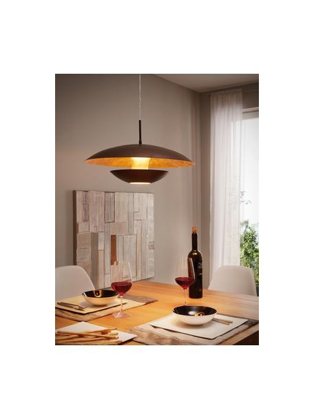 Lámpara de techo Nuvano, Pantalla: acero con pintura en polv, Anclaje: metal, Cable: plástico, Marrón, dorado, Ø 48 x Al 18 cm