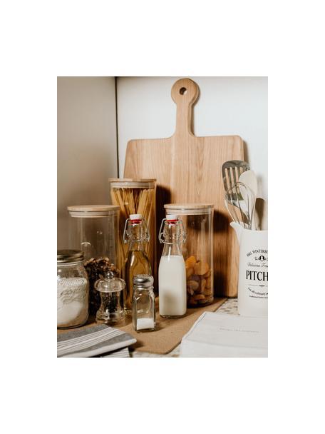 Opbergpot Woodlock met deksel van beukenhout, Glas, beukenhout, Transparant, beukenhoutkleurig, Ø 11 x H 28 cm