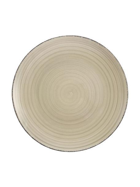 Set van 6 handbeschilderde  dinerbord Baita in greige, Handbeschilderde keramiek (hard dolomiet), Greige, Ø 27 cm