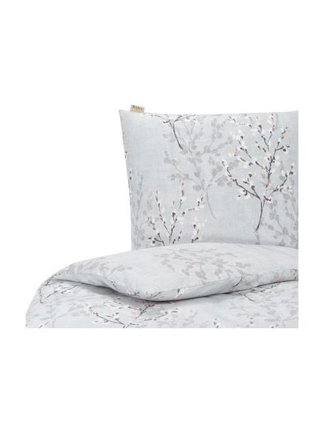 Pościel z flaneli Winter Twigs, Szary, biały, 135 x 200 cm + 1 poduszka 80 x 80 cm