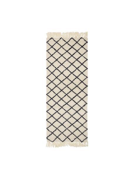 Alfombra de lana Alva, 70%algodón, 30%poliéster Las alfombras de lana se pueden aflojar durante las primeras semanas de uso, la pelusa se reduce con el uso diario, Crema, gris antracita, An 70 x L 200 cm
