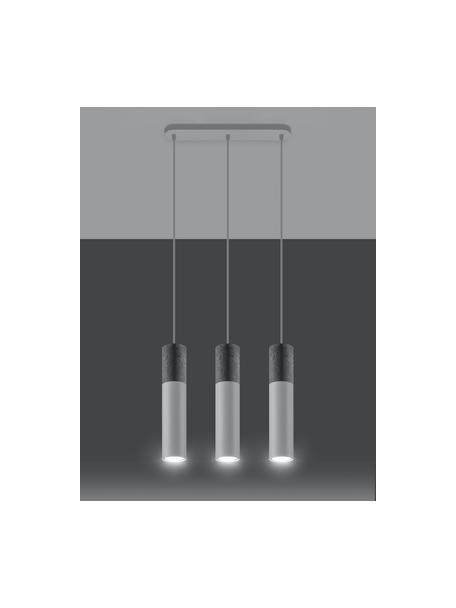 Hanglamp Edo van beton, Lampenkap: beton, staal, Baldakijn: staal, Grijs, wit, Ø 6 x H 30 cm