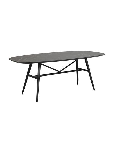 Eettafel Springdale met marmerlook, 200 x 98 cm, Tafelblad: MDF met keramisch oppervl, Poten: gepoedercoat metaal, Zwart, 200 x 98 cm