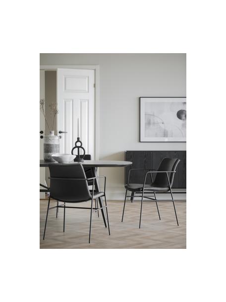 Stół do jadalni z imitacją marmuru Springdale, Blat: płyta pilśniowa średniej , Nogi: metal malowany proszkowo, Czarny, S 200 x G 98 cm