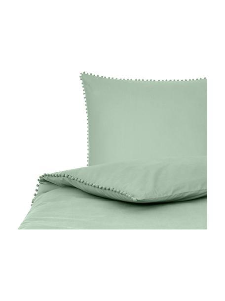 Pościel z perkalu z pomponami Bommy, Szałwiowy zielony, 135 x 200 cm + 1 poduszka 80 x 80 cm