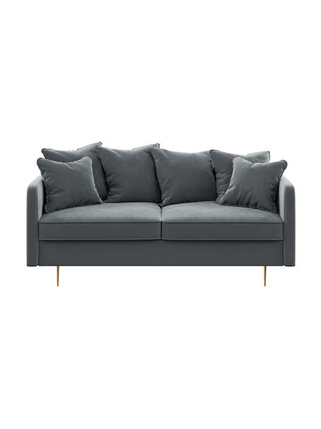 Sofa z aksamitu Esme (2-osobowa), Tapicerka: 100% poliester Dzięki tka, Nogi: metal powlekany, Aksamitny stalowy szary, S 176 x G 96 cm