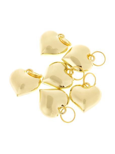 Geschenklabels Charm Heart, 6 stuks, Metaal, Goudkleurig, Ø 2 cm