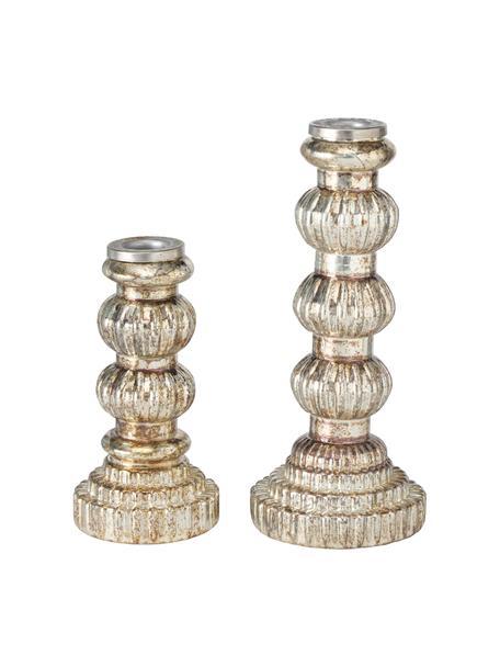Komplet świeczników Lavoresco, 2 elem., Szkło, Odcienie złotego, Komplet z różnymi rozmiarami
