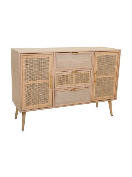 Aparador de madera Cayetana Elmo, Estructura: tablero de fibras de dens, Patas: madera de bambú pintada, Beige, An 120 x Al 81 cm