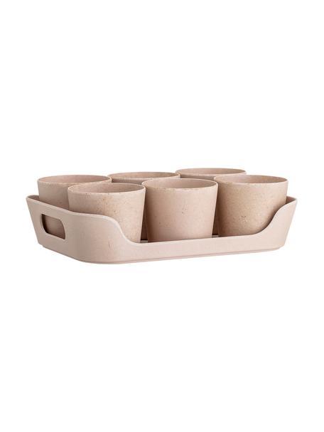 Kleines Pflanztopf-Set Pola aus Bambus, 7-tlg., Bambus, Polyresin, Beige, Set mit verschiedenen Größen