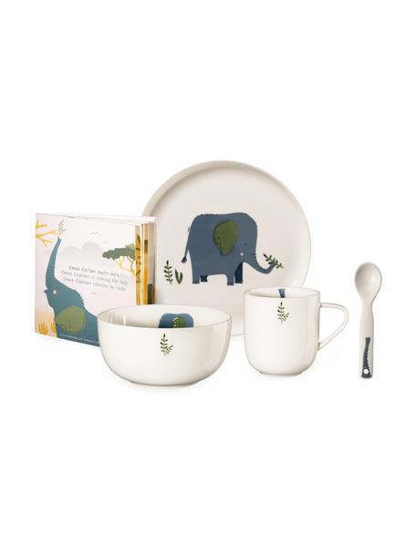 Serviesset Emma Elefant, 5-delig, Fine Bone China (porselein), Wit, blauw, groen, Set met verschillende formaten