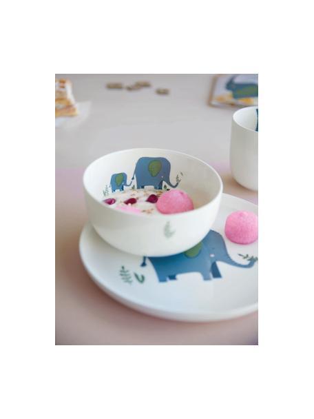 Vajilla Emma Elefant, 5pzas., Porcelana fina Bone China, Blanco, azul, verde, Set de diferentes tamaños