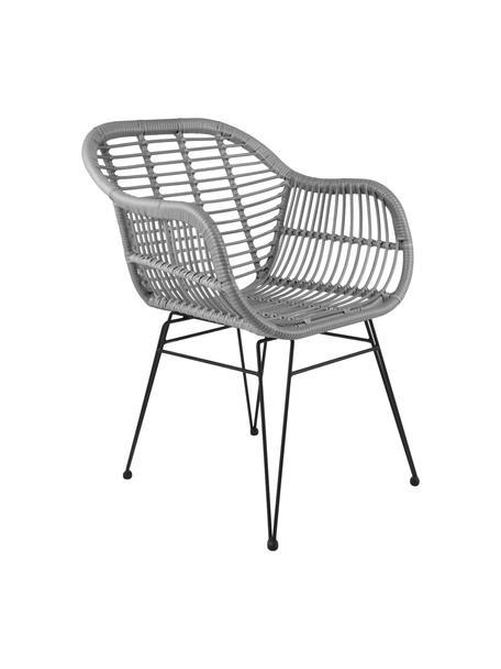 Sedia intrecciata  con braccioli Costa 2 pz, Seduta: intreccio in polietilene, Struttura: metallo verniciato a polv, Grigio Gambe: nero, Larg. 59 x Alt. 58 cm