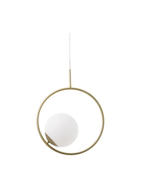 Lampada a sospensione in vetro e metallo Chloe, Paralume: vetro opale, Baldacchino: metallo, ottonato, Bianco, ottone, Larg. 40 x Alt. 51 cm