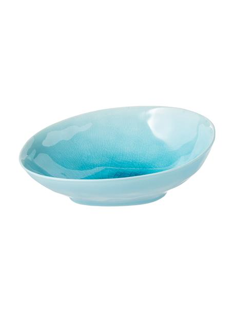 Porzellan-Schale à la Plage mit Craquelé-Glasur matt/glänzend, Porzellan, Craquele-Glasur, Türkis, 18 x 20 cm