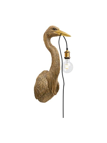 Grote handgemaakte wandlamp Heron, Lamp: polyresin, Fitting: metaal, Bruin, 26 x 62 cm