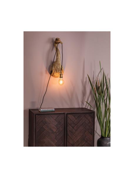 Handgefertigte Wandleuchte Heron mit Stecker, Braun, 26 x 62 cm