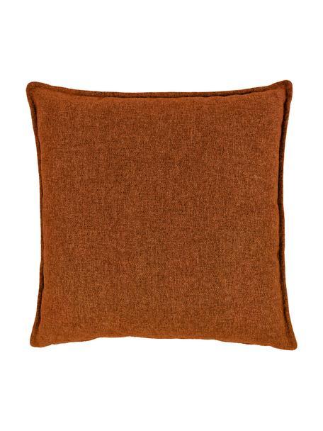 Cuscino arredo in velluto a coste color terracotta Lennon, Rivestimento: 100% poliestere, Terracotta, Larg. 60 x Lung. 60 cm