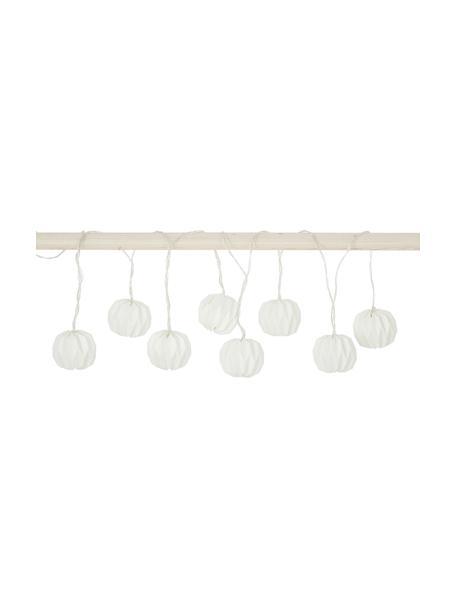 LED-Lichterkette Hanami, 259 cm, 8 Lampions, Papier, Metall, Kunststoff (PVC), Weiß, L 259 cm