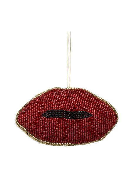 Baumanhänger Lips B 11 cm, 2 Stück, Rot, Schwarz, Goldfarben, 11 x 6 cm