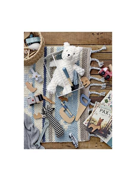 Vloerkleed Nagou, Katoen, Blauwtinten, grijs, beige, 60 x 90 cm