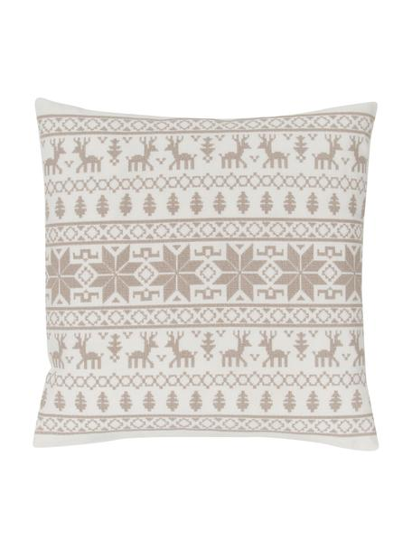 Bestickte Kissenhülle Orkney mit Norweger-Muster, 100% Baumwolle, Beige, 45 x 45 cm