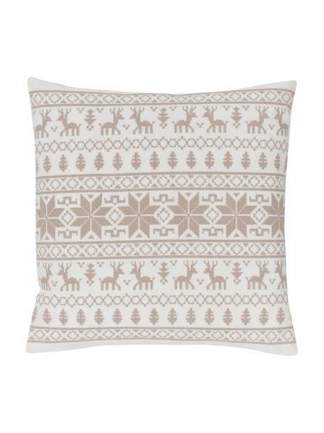 Geborduurde kussenhoes Orkney met Noors patroon, 100% katoen, Beige, 45 x 45 cm