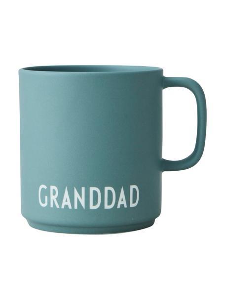 Taza de café de diseño Favourite GRANDDAD/LOVE, Porcelana fina de hueso (porcelana) Fine Bone China es una pasta de porcelana fosfática que se caracteriza por su brillo radiante y translúcido., Verde jade mate, blanco, Ø 10 x 9 cm